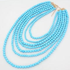 Aqua Strands Necklace and Earring Set