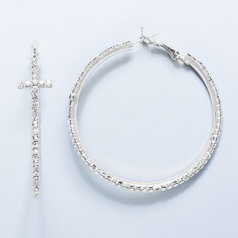 Sparkly Cross Hoop Earrings