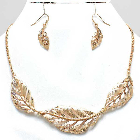 Leaves of Gold Necklace and Earring Set