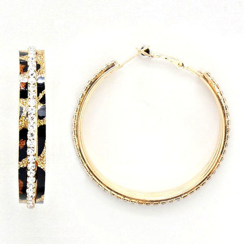 Leopard Sparkle Hoop Earrings