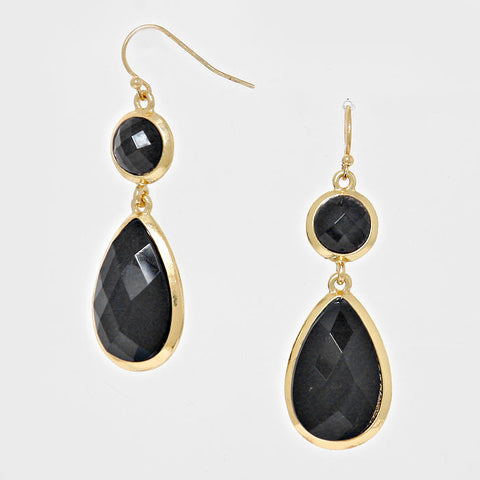 Onyx and Gold Earrings - like