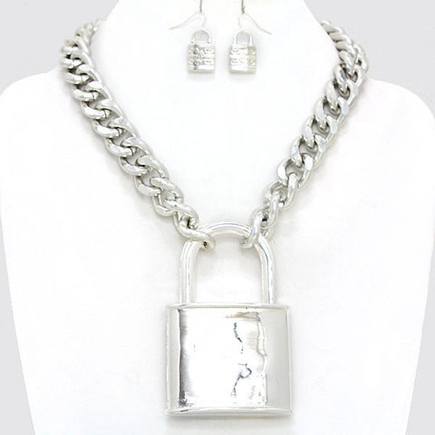 Patty's Lock Necklace and Earring Set - like Rihanna and Fergie - two colors