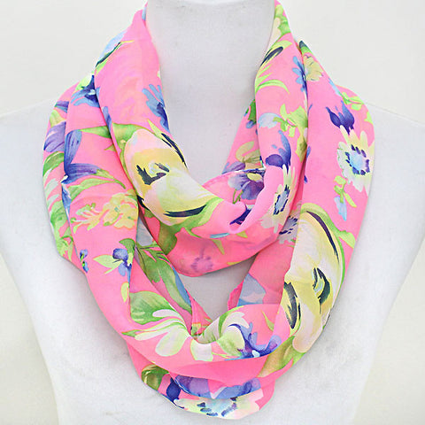 Pink Flowers Infinity Scarf