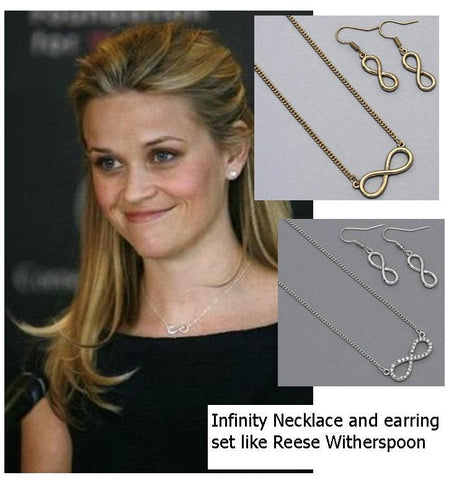 Infinity Necklace and Earring Set - like Reese Witherspoon