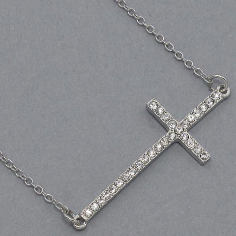 Sideways Cross Necklace - Sparkly -- like JLo, Lucy Hale and Selena Gomez - 2 colors