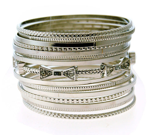 Silver Stack Bangle Set