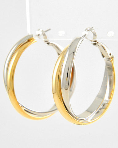 Two-Toned Hoop Earrings