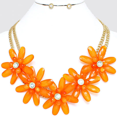 Zesty Flower Necklace and Earring Set - like Blake Lively