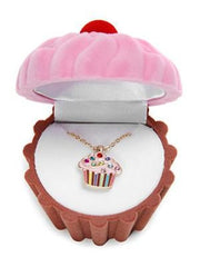 Cupcake Cutie Pendant Necklace & Cupcake-Shaped Jewelry Box - 2 colors