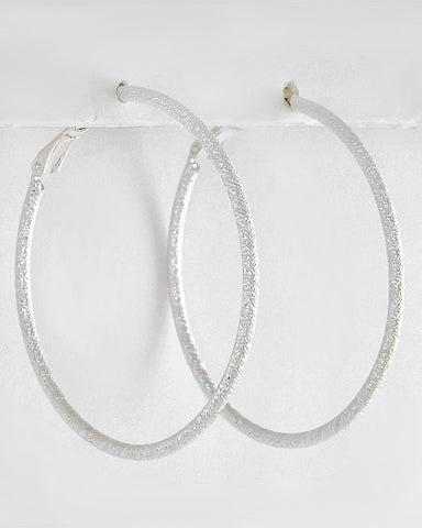 Etched in Silver Hoops