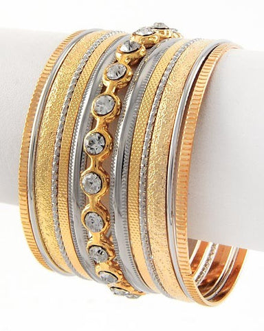 Silver and Gold Bangle Set