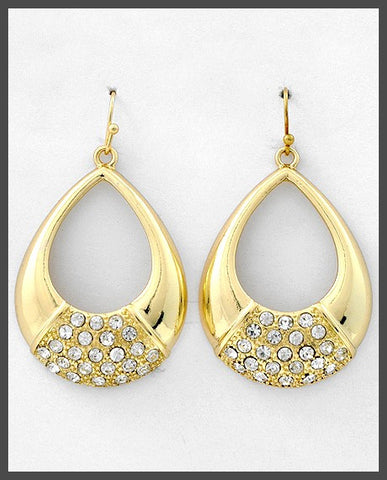 Sparkle Teardrop Hoop Earrings