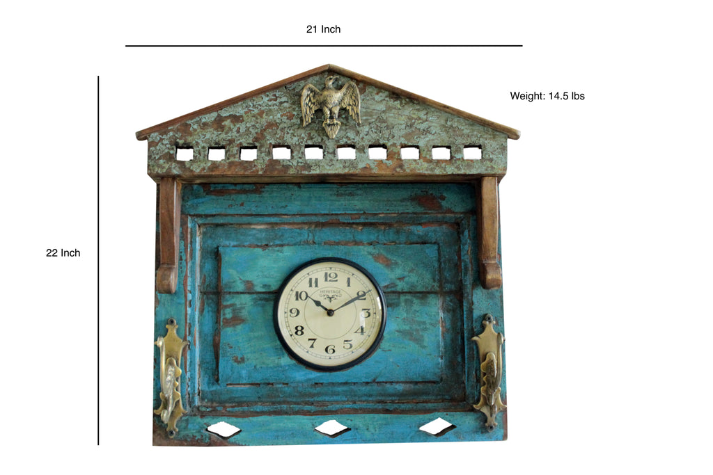 "Upcycled Old Window Clock with Brass Hooks ""Rustic Green"" $255.99"