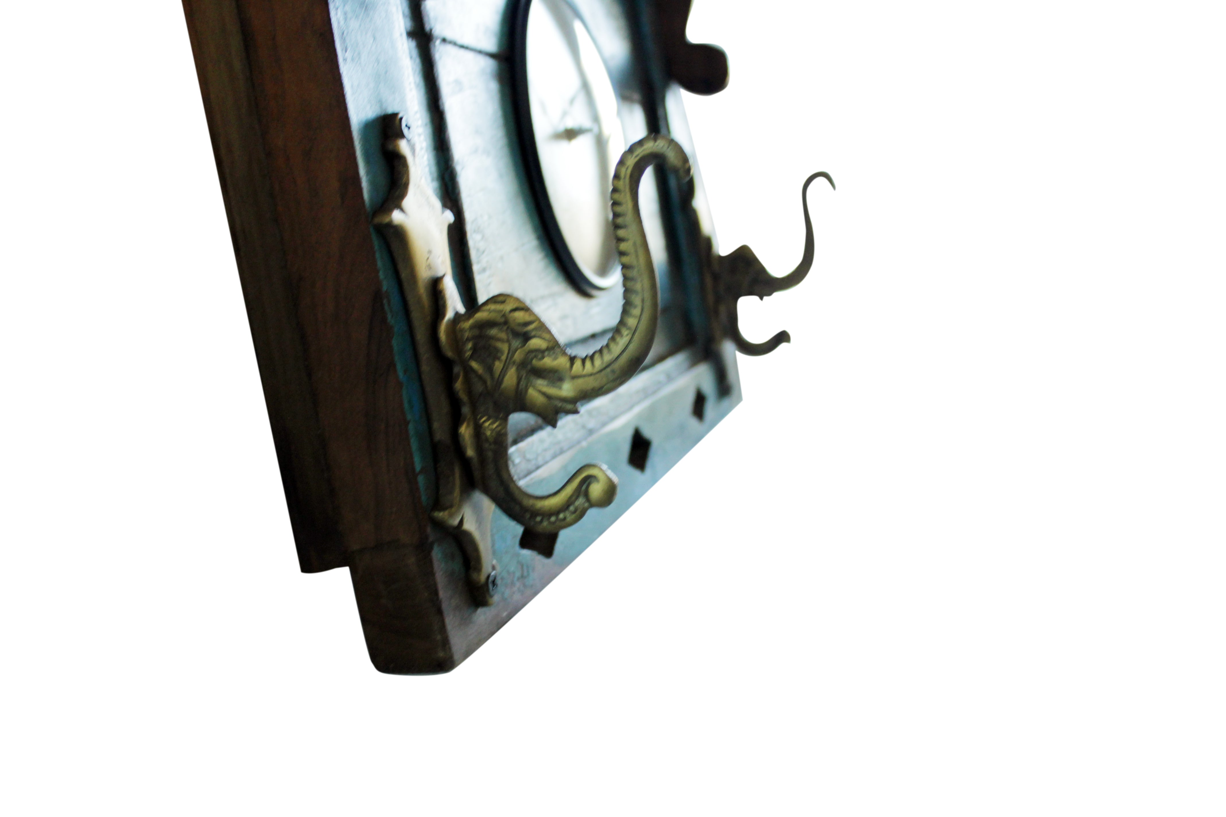 "Upcycled Old Window Clock with Brass Hooks ""Rustic Green"" $339.99"