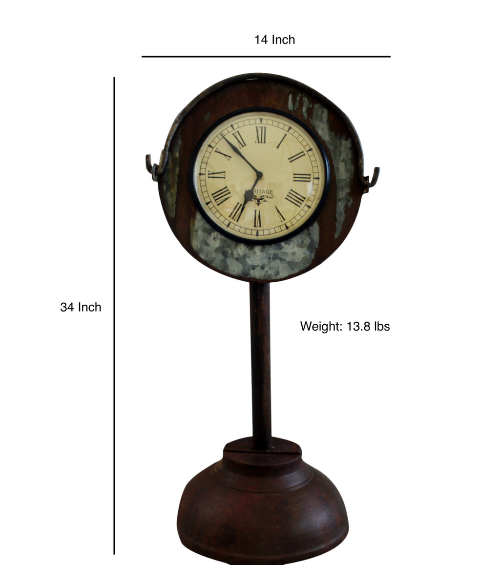 Upcycled Iron Bucket Floor Clock $186.99
