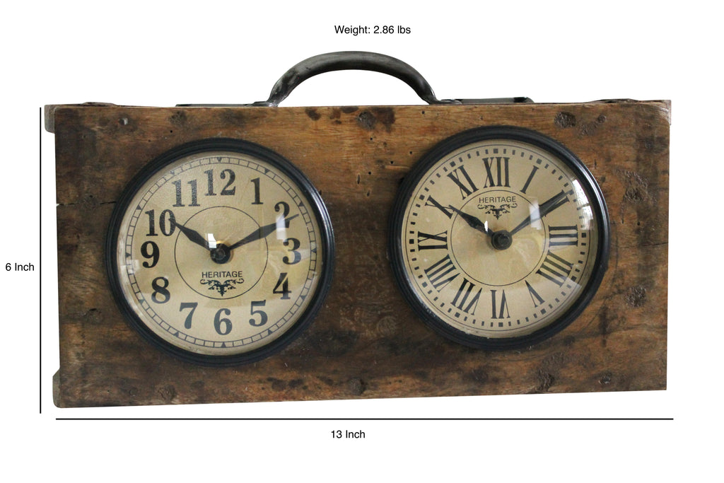 "Upcycled Brick Mold Dual Dial Clock ""Brown"" $136.99"