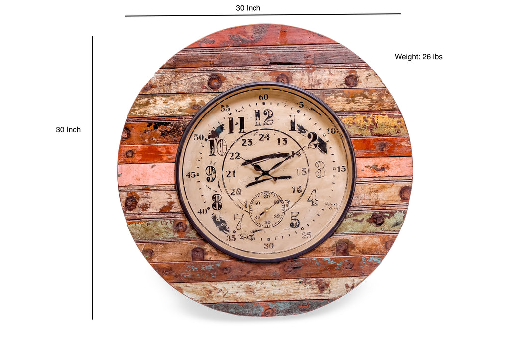 Upcycled Wooden Clock with Seconds Dial $459.99