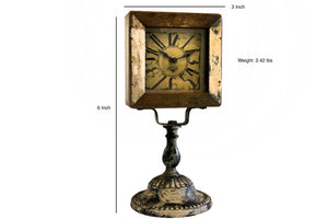 Teak Wood Table Clock with Metal Fittings $111.99