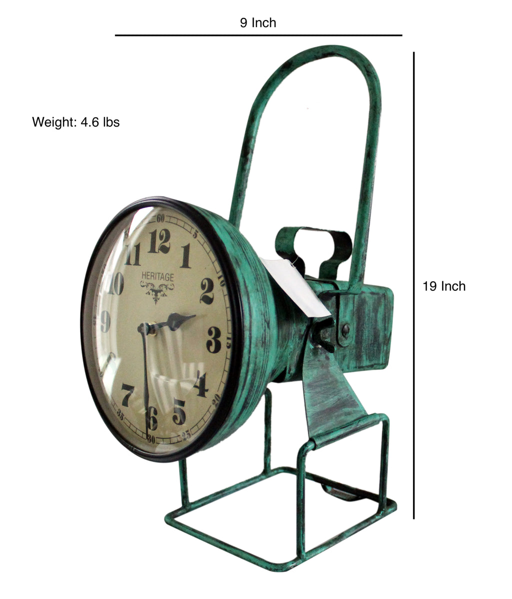 "Upcycled Iron Lamp Style Clock ""Green Camo"" $265.99"