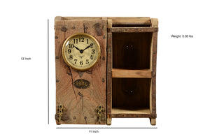 Upcycled Brick Mold Clock with 2 Shelves $155.99