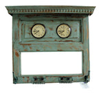 "Upcycled Old Window Clock with Mirror ""Blue""$339.99"