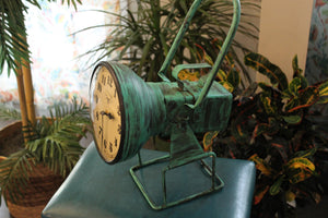 "Upcycled Iron Lamp Style Clock ""Green Camo"" $199.99"