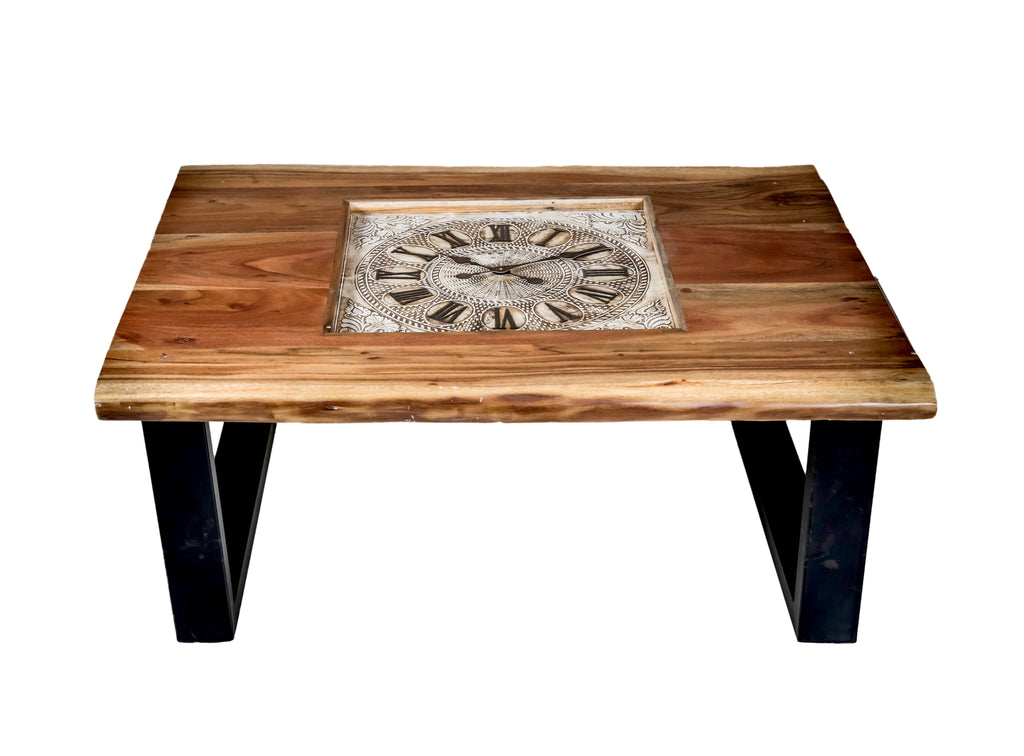 Live Edge Wooden Table with Clock $819.99