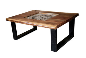 Live Edge Wooden Table with Clock (CT-005)