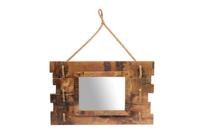 Upcycled Old Teak Wood Slats Mirror (MR-005)