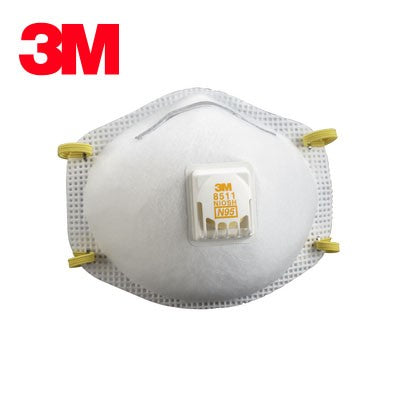 3M 8511 Respirator Mask, N95, Cool Flow Valve, 2-Pack