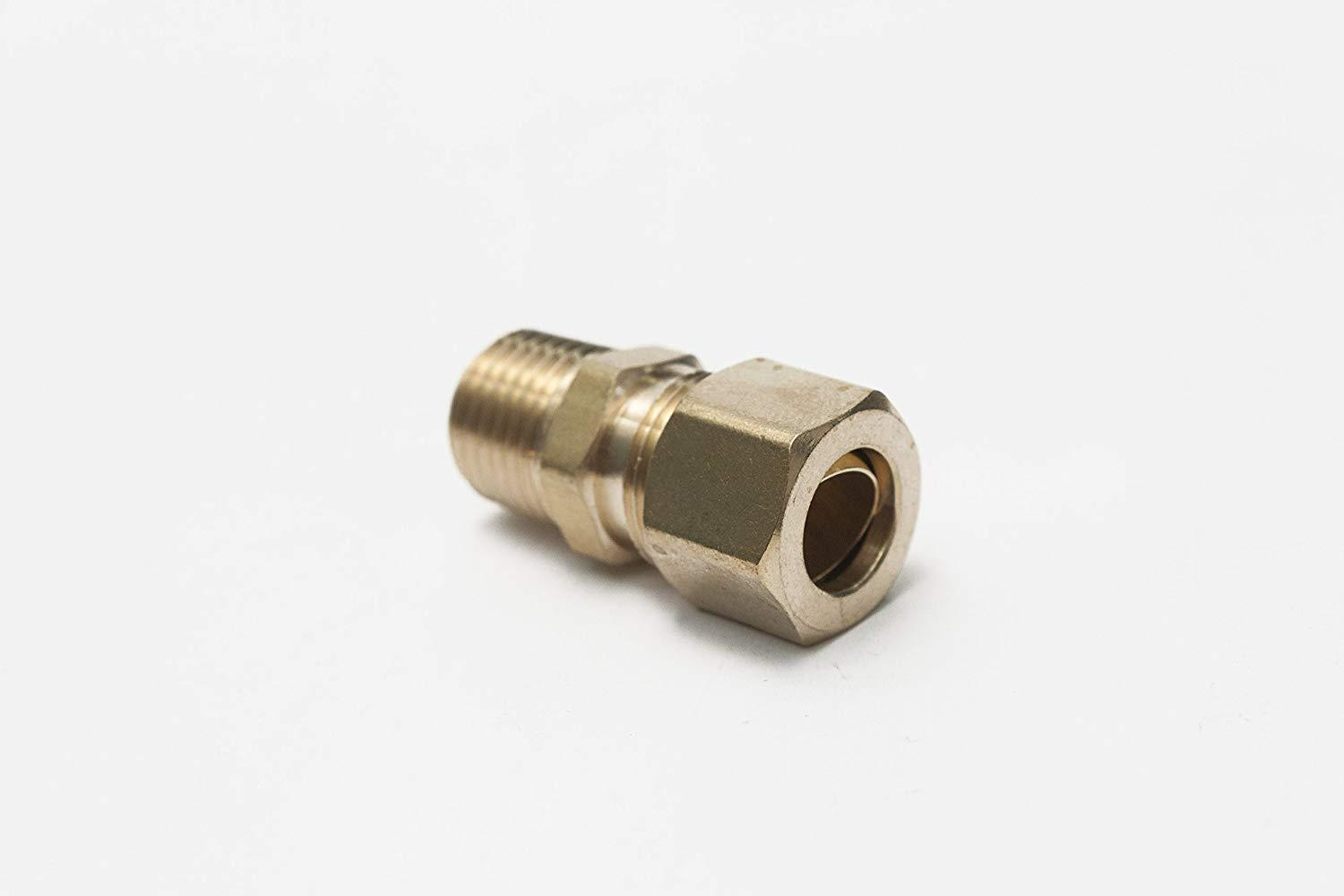3/8'' OD To 1/4'' OD Compression Converter (Left) Brass Fitting Triple S