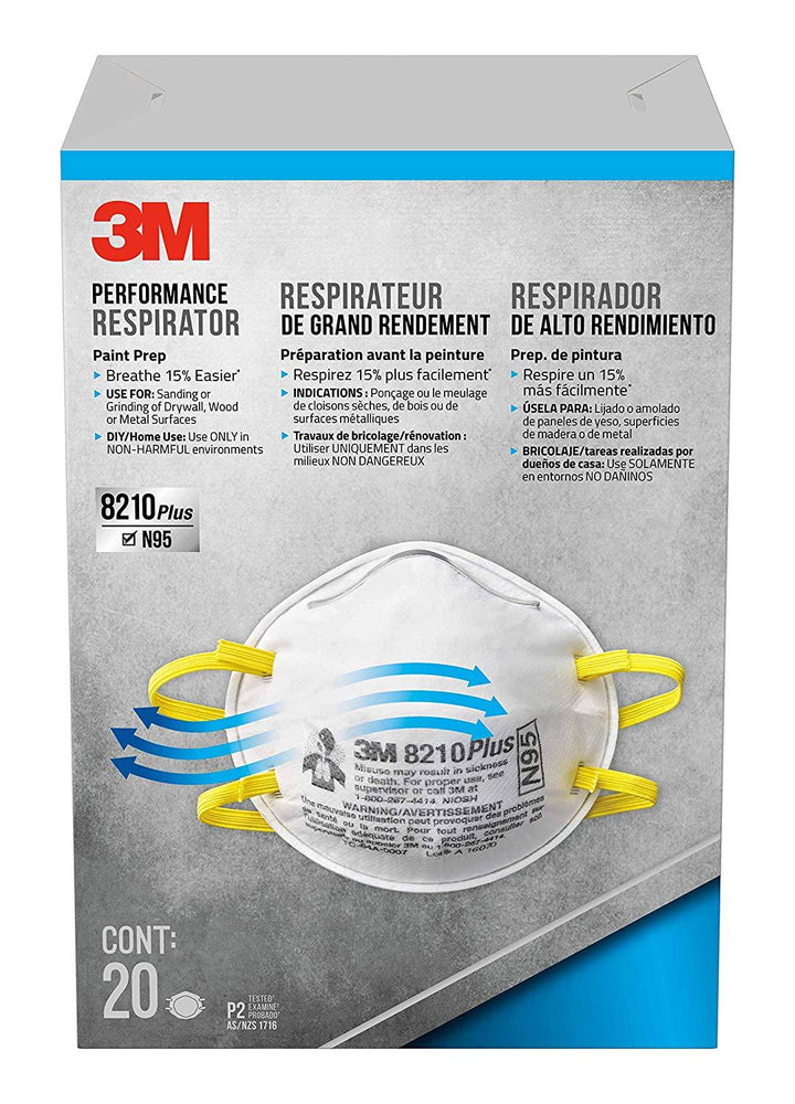 3M 8210 Plus Paint Sanding Dust Particulate Respirators, N95, 20-Pack Workwear Pacoa