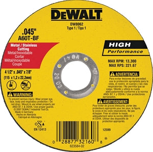 "4-1/2"" x .045"" x 7/8"" Metal Thin Cut-Off Wheel - Type 1"