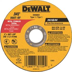 "4"" x .045"" x 5/8"" Metal Thin Cut-Off Wheel - Type 1"