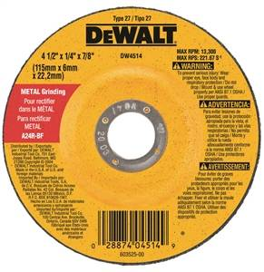 "4-1/2"" x 1/4"" x 7/8"" General Purpose Metal Grinding Wheel"