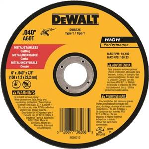 "6"" x .040"" x 7/8"" A60T Metal Thin Cut-Off Wheel - Type 1"