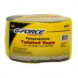 "G-force 1/4"" x 100' Yellow Twisted Poly Rope"