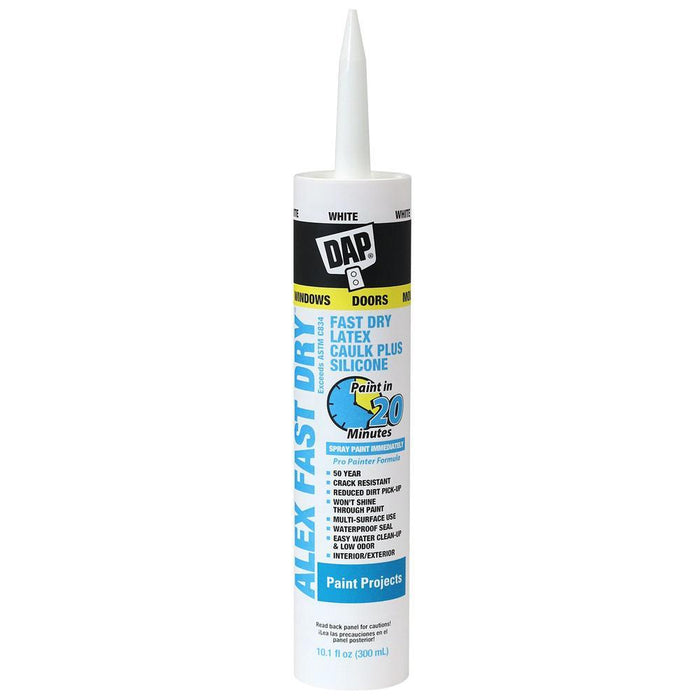 DAP 10.1 oz. Alex Fast Dry White Acrylic Latex Plus Silicone Caulk Caulking & Sealants Pacoa