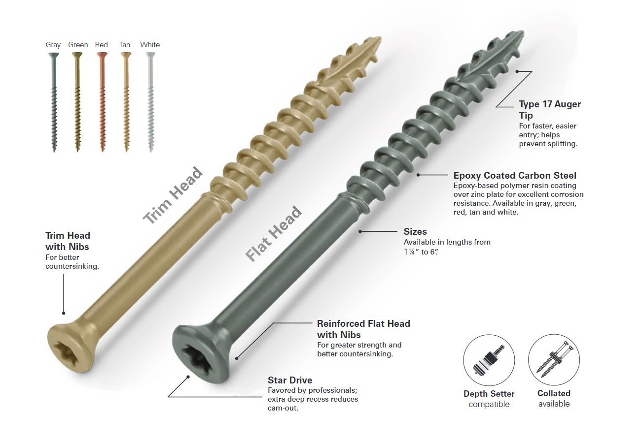Epoxy Coated Trim Head Deck Screw Gray Screws Starborn