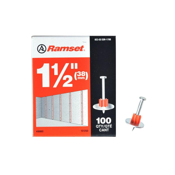 Ramset Drive Pins w/ Washer (100-Pack) Anchors Ramset 1 1/2''