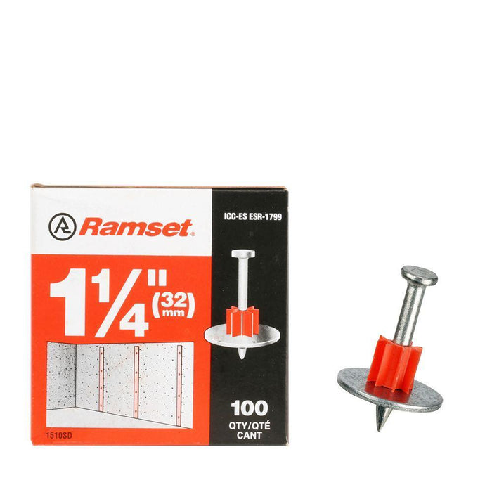 Ramset Drive Pins w/ Washer (100-Pack) Anchors Ramset 1 1/4''