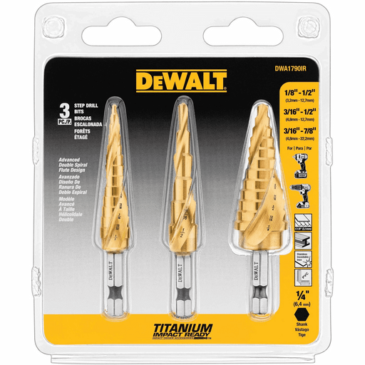 DEWALT 3PC Impact Ready Step Bit Set