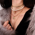 Vintage Multilayer Coin Pendant Faux Pearl Sweater Chain Necklace
