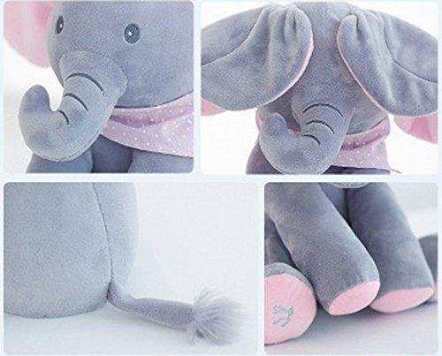 Peek-a-boo Elephant Baby Plush Toy, Talking Singing Stuffed Kids Music Cute Doll