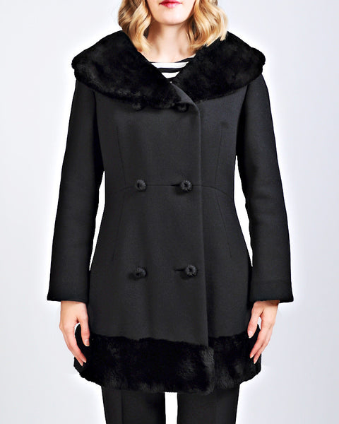Black Sheared Fur + Wool Coat