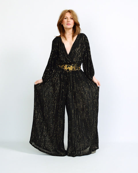 Metallic Stripe Gauze India Palazzo Jumpsuit