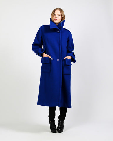 Cobalt Blue Wool Maxi Coat