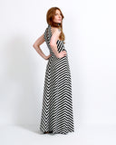 Black + White Chevron Maxi Dress