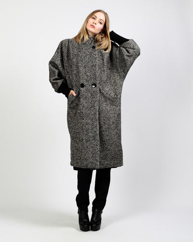 Black + White Tweed Wool Coat
