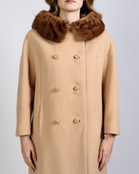 Camel Wool + Mink Fur Coat